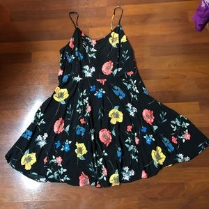 Black floral sundress dress blue red yellow poppy